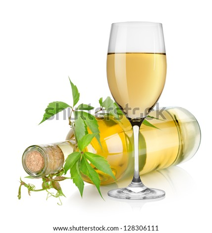 White wine and vine isolated on a white background - stock photo