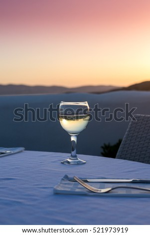 White wine at sunset in Naxos, Greece