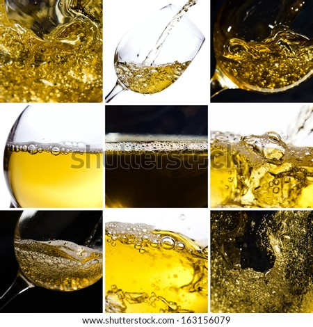 White wine being poured into a wineglass - stock photo