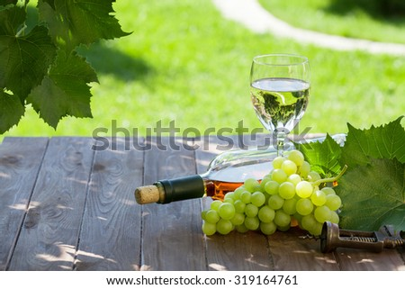 White wine bottle and glass with white grape on garden table