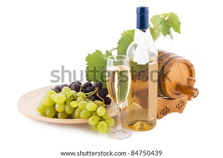 White wine bottle, glass and cask with grapes over white - stock photo