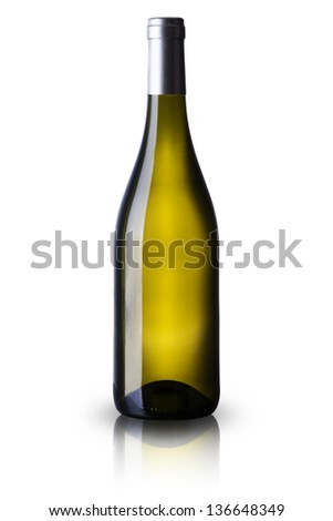 White Wine Bottle on white background - stock photo
