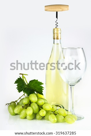 White wine bottle, wineglass with ice cubes, grapes, and corkscrew. - stock photo
