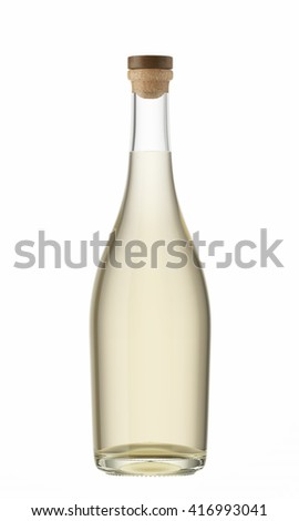 White wine bottle with a wooden stopper isolated on white background. 3D Mock up for your design.