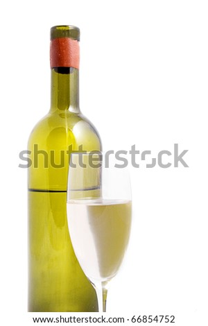 White wine bottle with glass isolated - stock photo
