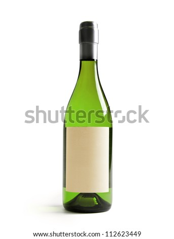 White wine bottle, with real paper blank label. Label is at eye level so  inserted elemets do not need to be curved (wrapped around) so much. Focus  on label. Isolated on white. - stock photo