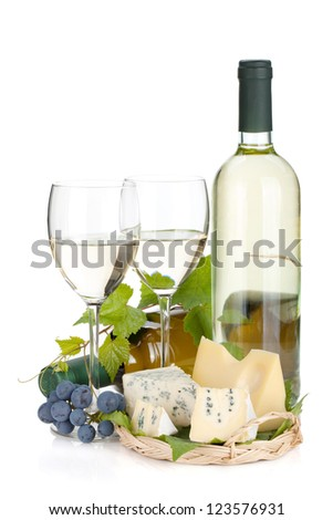 White wine, cheese and grape. Isolated on white background - stock photo