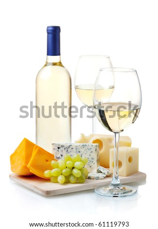 White wine, cheese and grapes. Isolated on white - stock photo