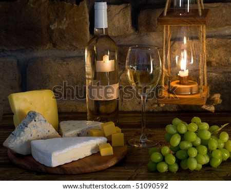 White wine composition - stock photo