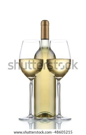 white wine elegant glasses - stock photo