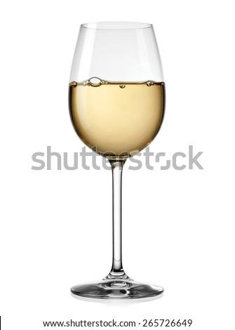 White wine glass - stock photo