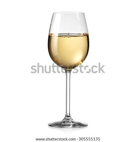 White wine glass - stock photo