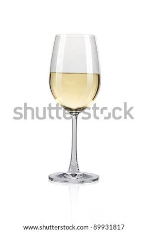 White wine glass against a white background - stock photo