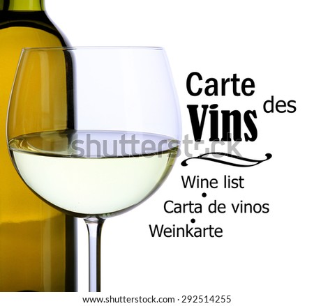 White wine glass and bottle isolated on white - stock photo