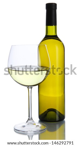 White wine glass and bottle of wine isolated on white - stock photo