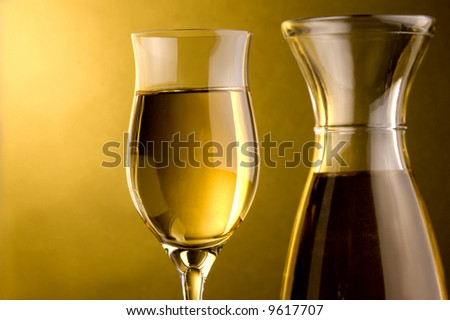 white wine glass and jug