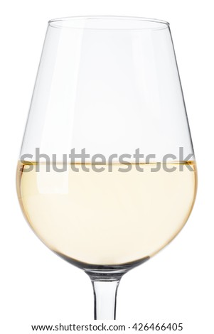 White wine glass close up isolated on white, clipping path - stock photo