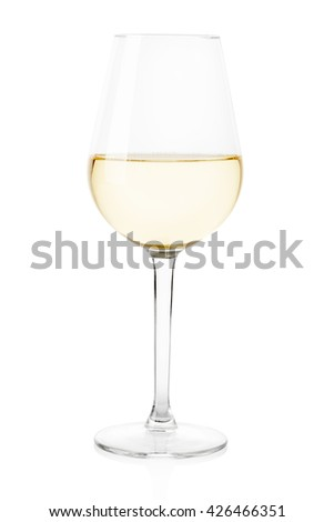 White wine glass isolated on white, clipping path - stock photo