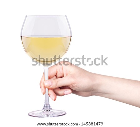 white wine glass with hand isolated against a background