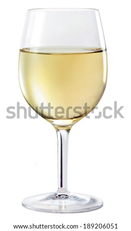 white wine glass with shadow on white background. - stock photo