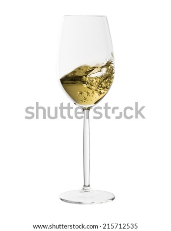 white wine glass with splash of wine isolated on white background