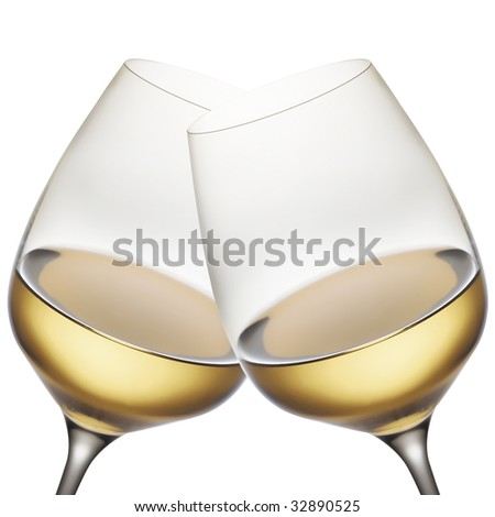 white wine glasses - stock photo