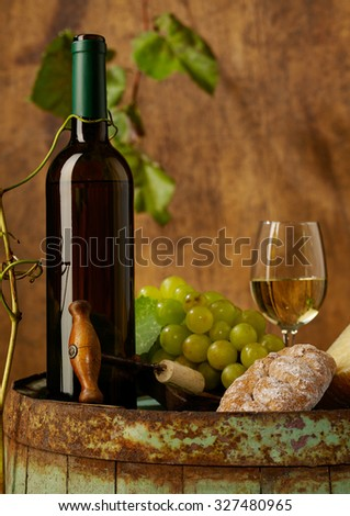 White wine, grapes and bread