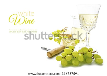white wine, green grapes and cheese isolated on a white background, concept for a wine list, menu or invitation card, sample text in the copy space