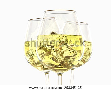 White wine in a glass on a white background - stock photo
