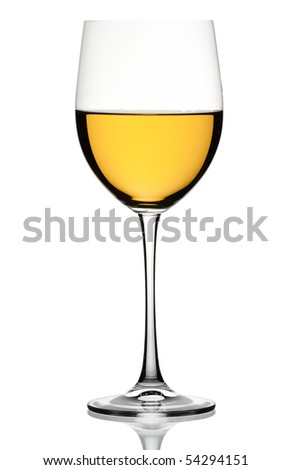 White wine in a glass on a white background