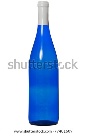 White wine in blue bottle isolated with clipping mask