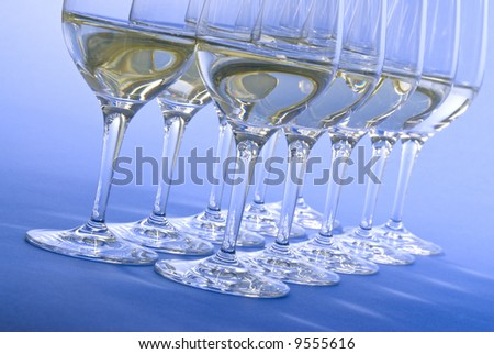White Wine in Crystal Glasses