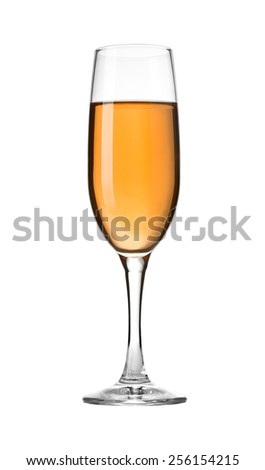 White wine in glass. Isolated on white background with clipping path - stock photo