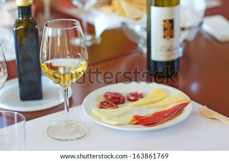 White wine in glass with Prosciutto and Cheese