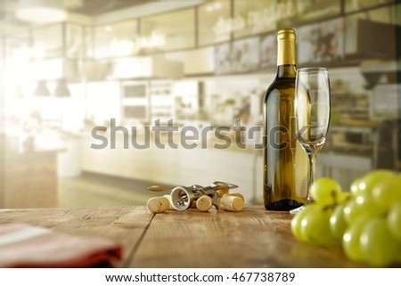white wine in modern kitchen in the morning