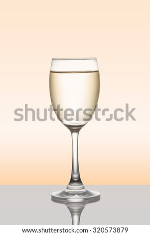 White wine in the glass with clipping path - stock photo