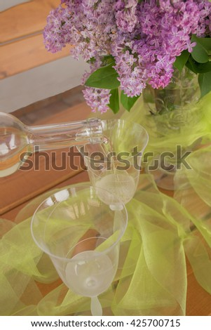 white wine,lilac,wedding,festive moment
