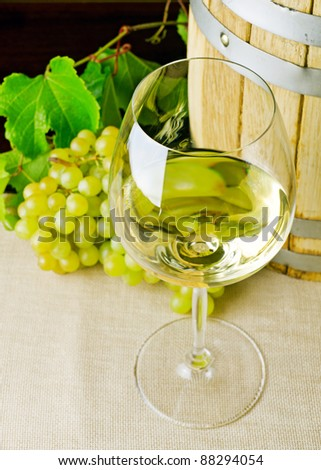 White wine on the table.