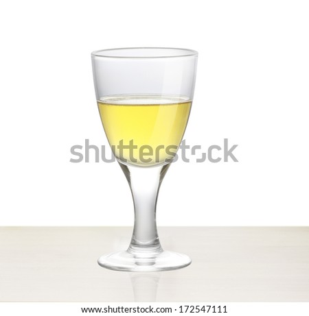 white wine on the wood - stock photo