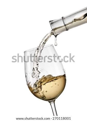 White wine pouring - stock photo