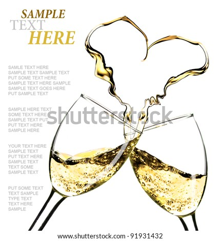 White wine splashes into shape of heart - stock photo