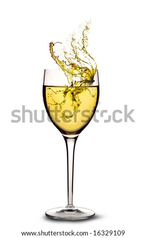 White wine splashing out of a glass