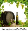 White wine still life with fresh grapevine border - stock photo
