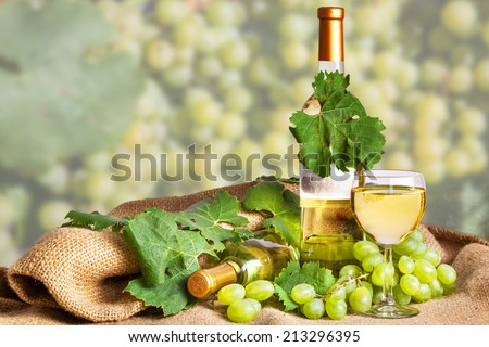 white wine to drink with wine bottles - stock photo