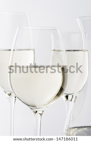 white wine wine glass against white background