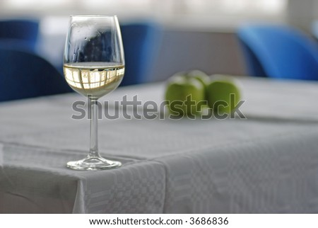 white wine with apples - stock photo