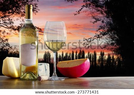 white wine with cheese - stock photo