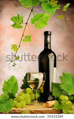 White wine with grapes and grapevine