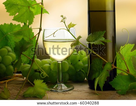 White wine with grapes and grapevine in detail - stock photo