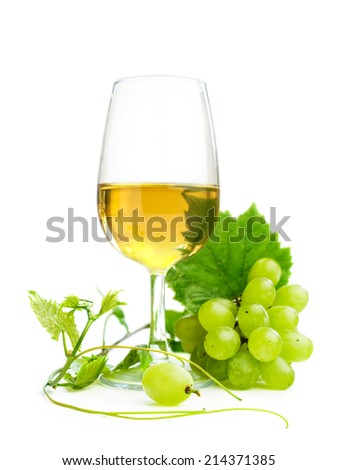 White wine with grapes isolated on white - stock photo